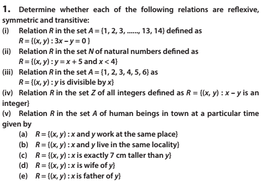 Relations and Functions Class 12 Maths NCERT Solutions
